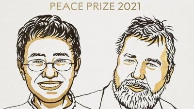 Στους δημοσιογράφους Μαρία Ρέσσα και Ντμίτρι Μουράτοφ το Νόμπελ Ειρήνης 2021