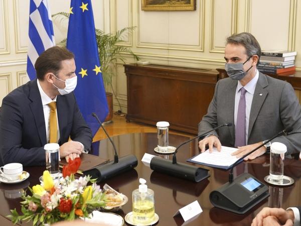 Συνάντηση του Πρωθυπουργού Κυριάκου Μητσοτάκη με τον Υπουργό Εξωτερικών της Βόρειας Μακεδονίας, Bujar Osmani