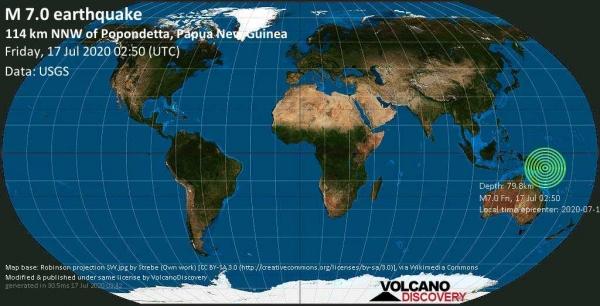 Σεισμική δόνηση 7 βαθμών σε θαλάσσια περιοχή ανοικτά της Παπούας Ν. Γουινέας